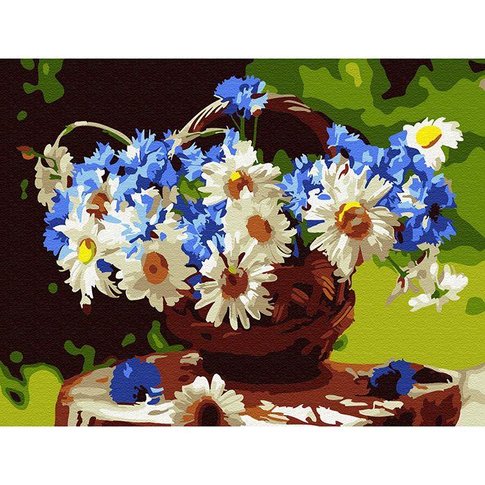 Картина по номерам Корзина полевых цветов 15*20см