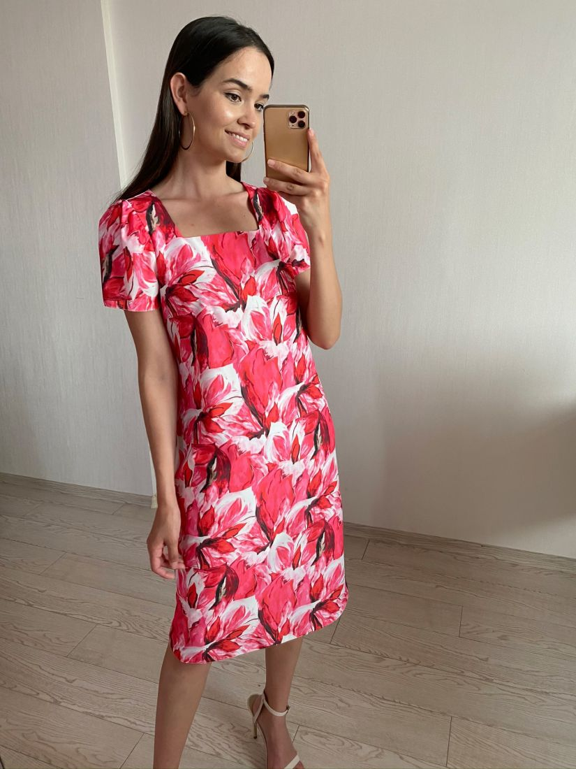 s1808 Платье в стиле 60-х с вырезом каре, розовое
