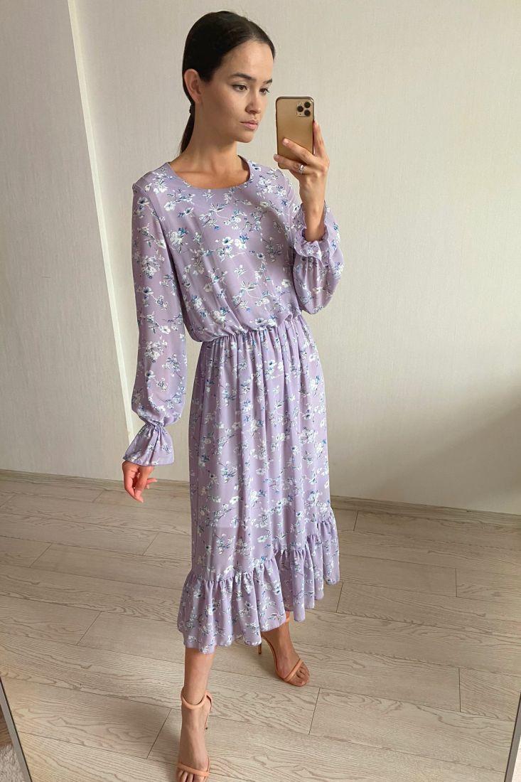 s1810 Платье из французского шифона с подкладом лавандовое