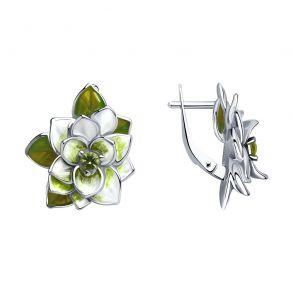 Серьги из серебра с эмалью и фианитами 94023514 SOKOLOV