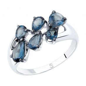 Кольцо из серебра с синими топазами 92011820 SOKOLOV
