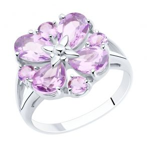 Кольцо из серебра с аметистами 92011856 SOKOLOV