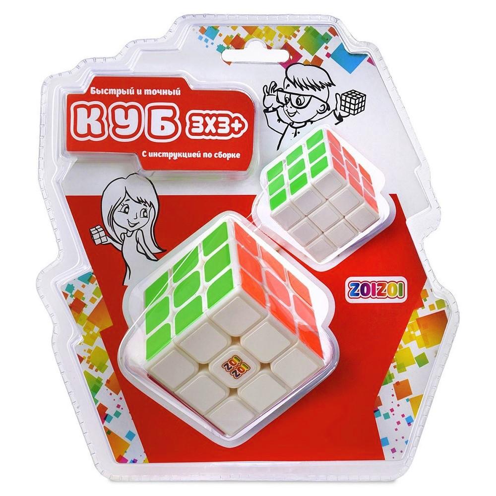 Игрушка головоломка ZOIZOI (Куб) 3*3 белый с цветн.наклейками,большой+маленький