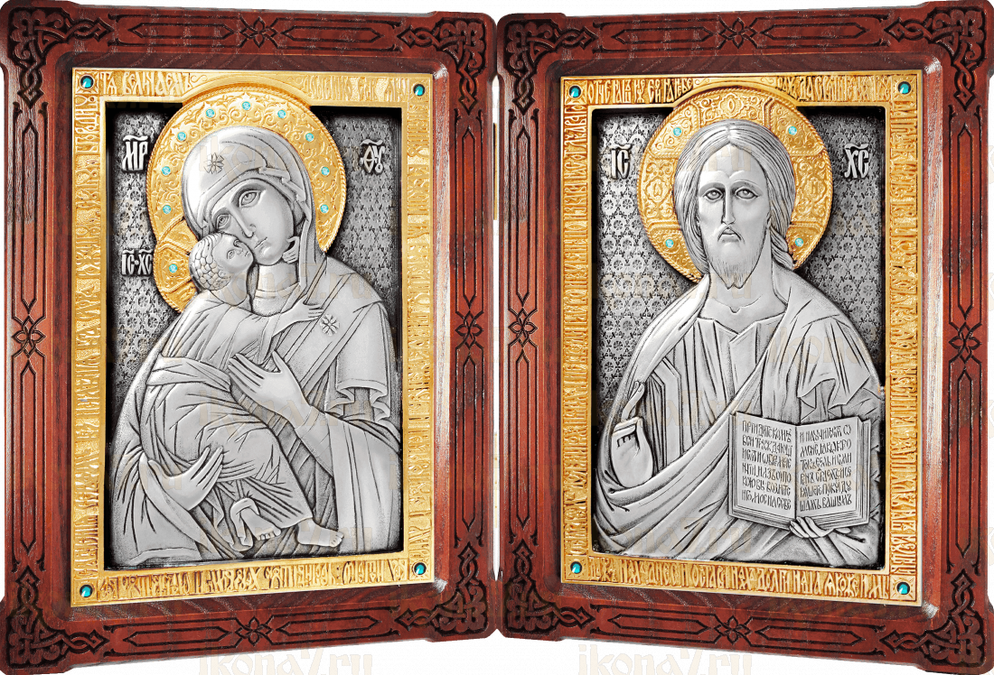 Венчальный складень - Спаситель Владимирская икона Божией Матери