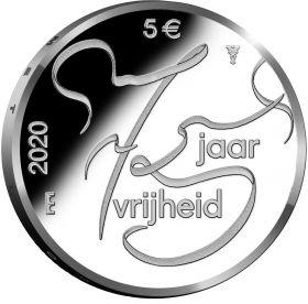 75 лет Мира и Свободы в Европе 5 евро Нидерланды  2020