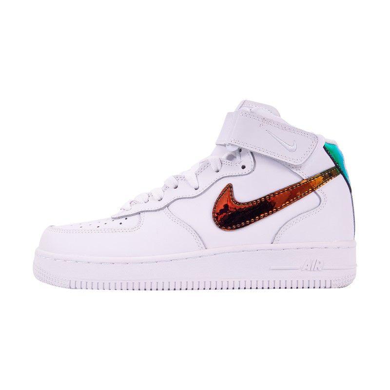 Кроссовки Nike Air Force 1 Mid '07 Leather белые (цв. лого)