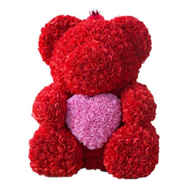 Мишка из роз с сердцем в подарочной коробке, 40 см
