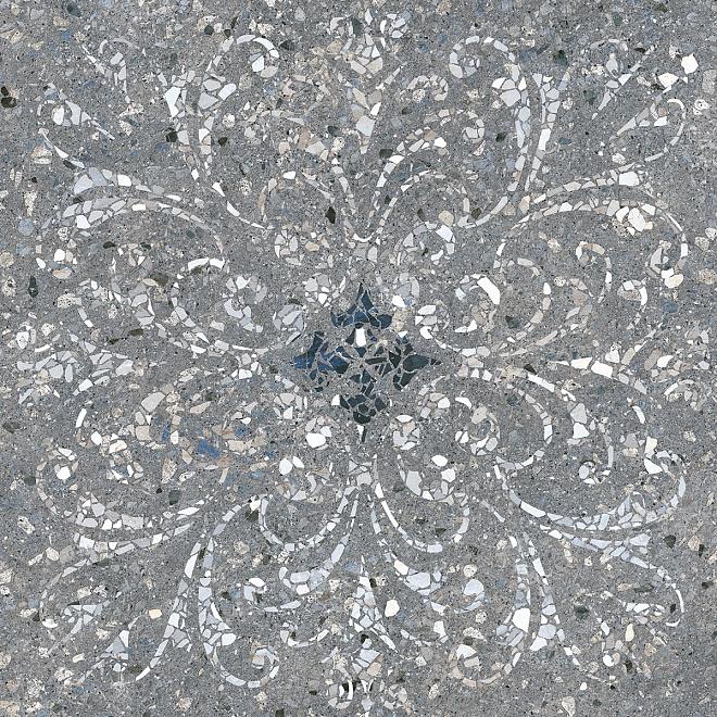 SG632900R | Терраццо серый тёмный декорированный обрезной
