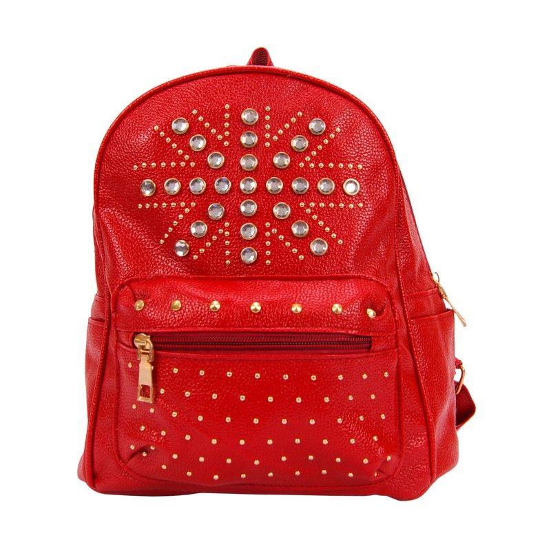 Рюкзак женский красный со стразами
