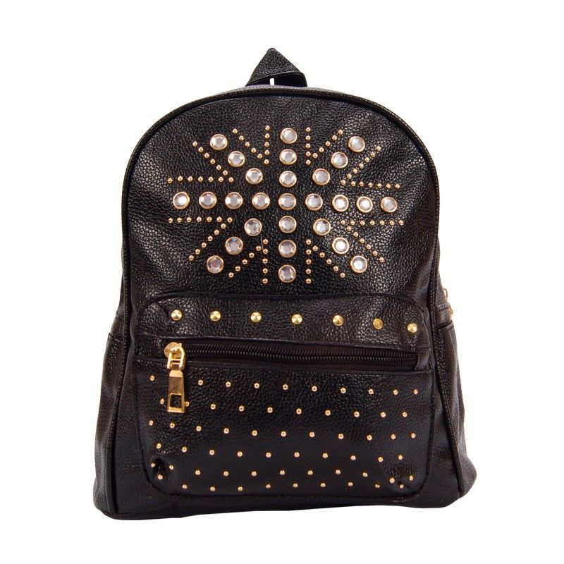 Рюкзак женский черный со стразами