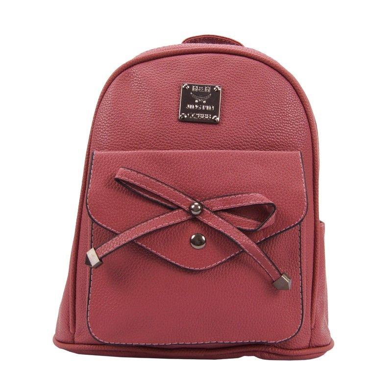Рюкзак женский с бантиком розовый