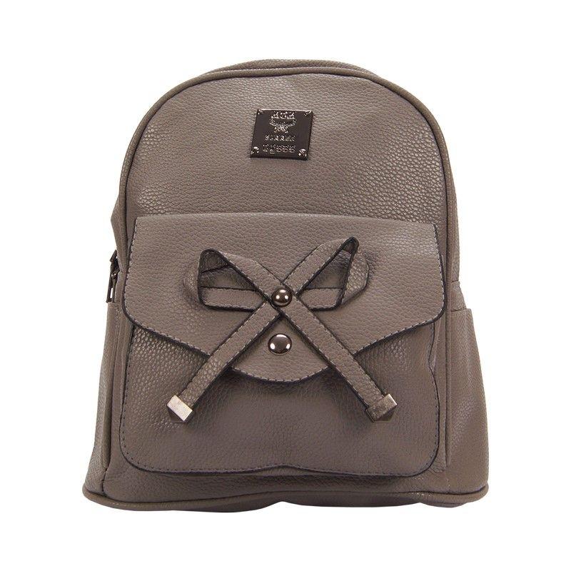 Рюкзак женский с бантиком серый
