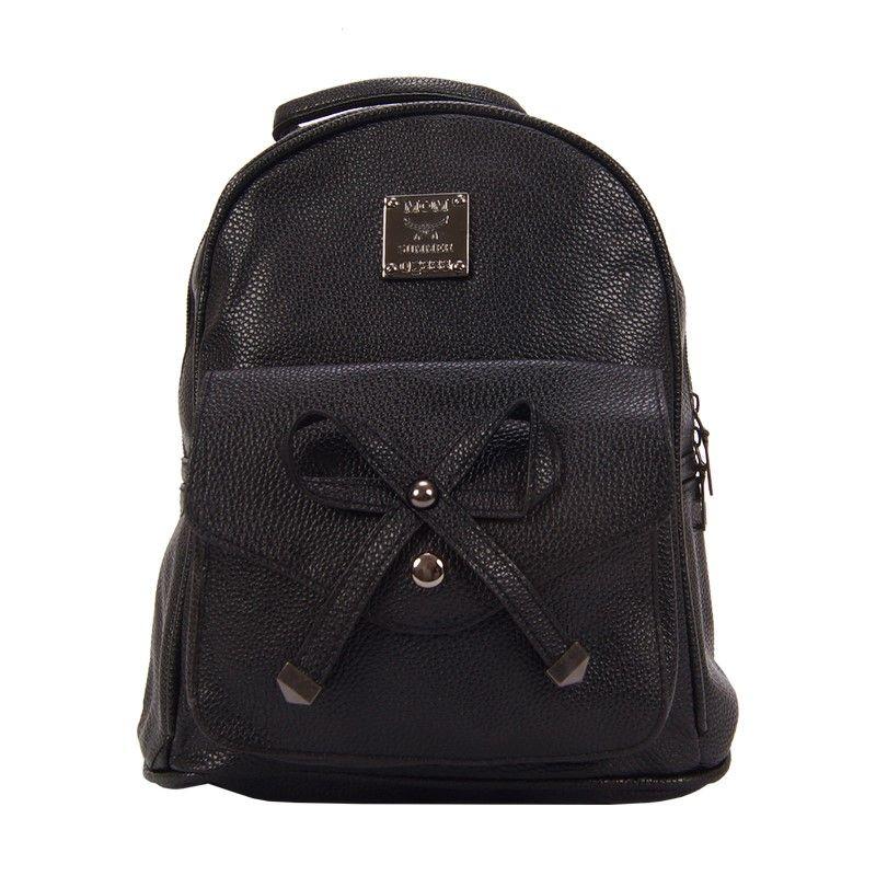 Рюкзак женский с бантиком черный