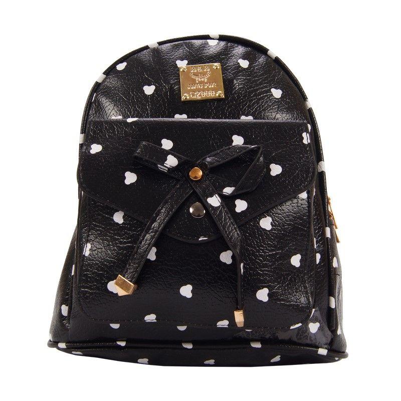 Рюкзак женский с бантиком черный в крапинку