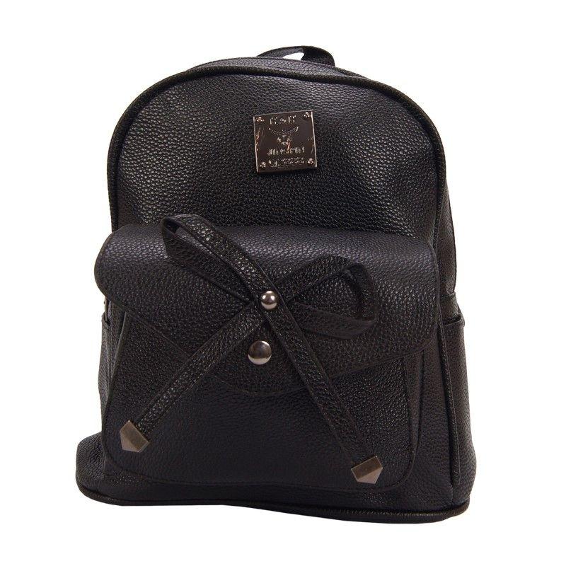 Рюкзак женский с бантиком черный 20смх28смх10см