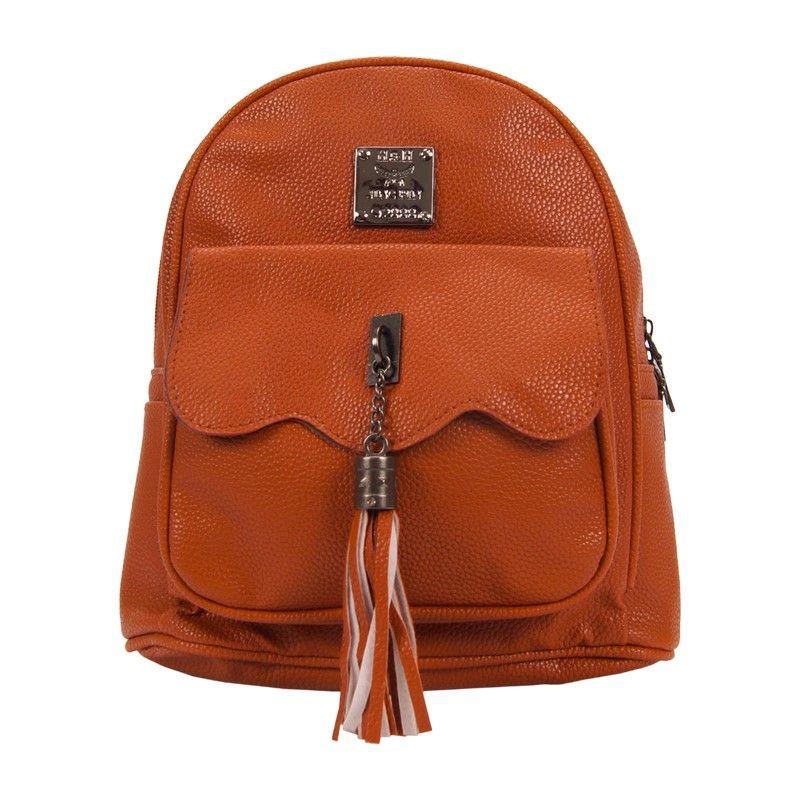 Рюкзак женский с кисточкой коричневый