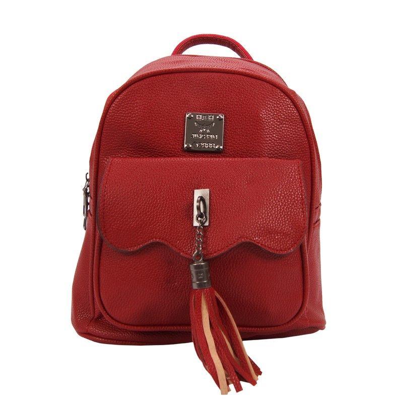 Рюкзак женский с кисточкой красный