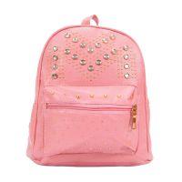 Рюкзак женский розовый со стразами