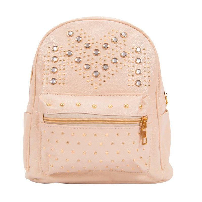 Рюкзак женский светло-розовый со стразами