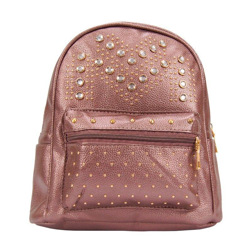 Рюкзак женский коричневый со стразами