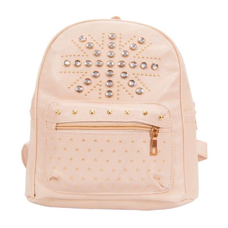 Рюкзак женский ярко-розовый со стразами