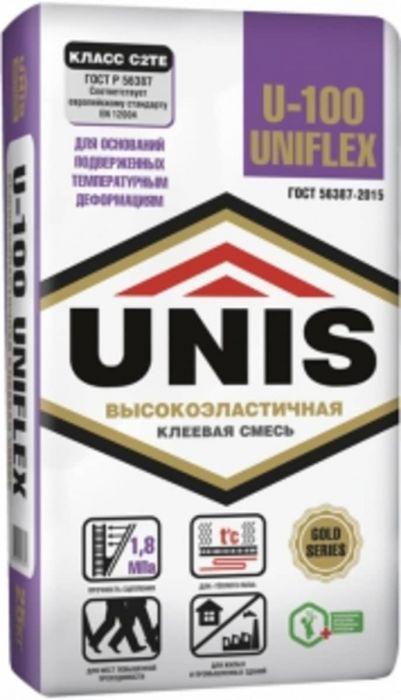 Клей для плитки эластичный Unis Uniflex U-100, 25 кг