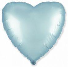 Шар (18''/46 см) Сердце, Голубой, Сатин, ИСПАНИЯ