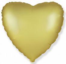Шар (18''/46 см) Сердце, Золото, Сатин, ИСПАНИЯ