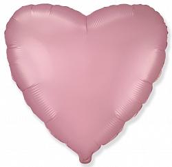 Шар (18''/46 см) Сердце, Розовый, Сатин, ИСПАНИЯ