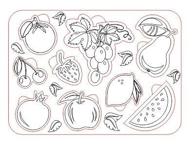 Пазл фрукты из дерева