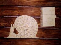 Пазл алфавит улитка для детей из дерева