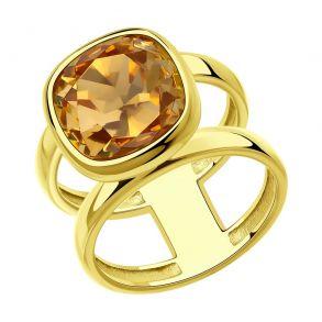 Кольцо из золочёного серебра с кристаллом Swarovski 93010847 SOKOLOV