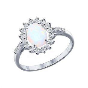 Кольцо из серебра с опалом и фианитами 94011765 SOKOLOV