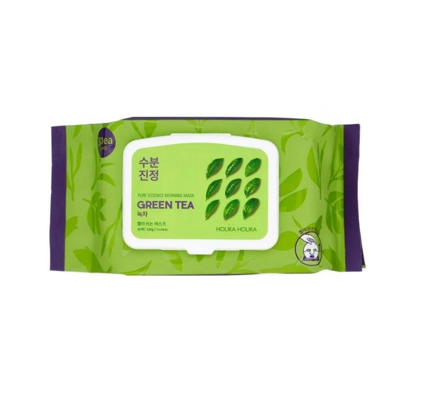 Тканевые экспресс-маски с зеленым чаем Holika Holika Pure Essence Morning Mask