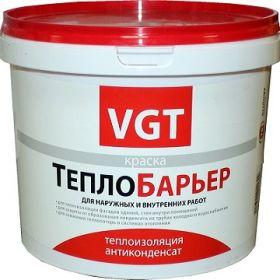Краска Теплоизоляционная VGT Теплобарьер ВД-АК-1180 9л для Металла и Минеральных Оснований, Внутренних и Наружных Работ / ВГТ Теплобарьер