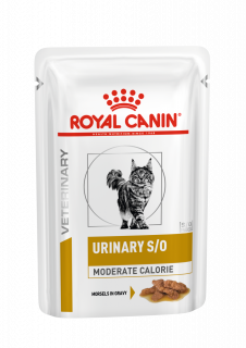 Влажный ветеринарный корм для кошек Royal Canin Urinary S/O Moderate Calorie Feline (Уринари С/О Модерейт Кэлори соус) 85г.