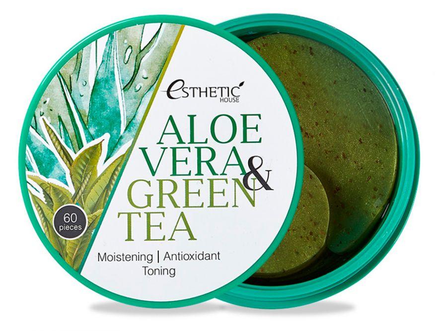 Увлажняющие гидрогелевые патчи для век с алоэ и зелёным чаем Esthetic House Aloe Vera & Green Tea Hydrogel Eye Patch
