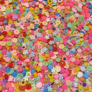 "Кабошон, пластик, ""Микс цветы"", размер  16-22мм (1уп = 50шт), Арт. КБП0419"