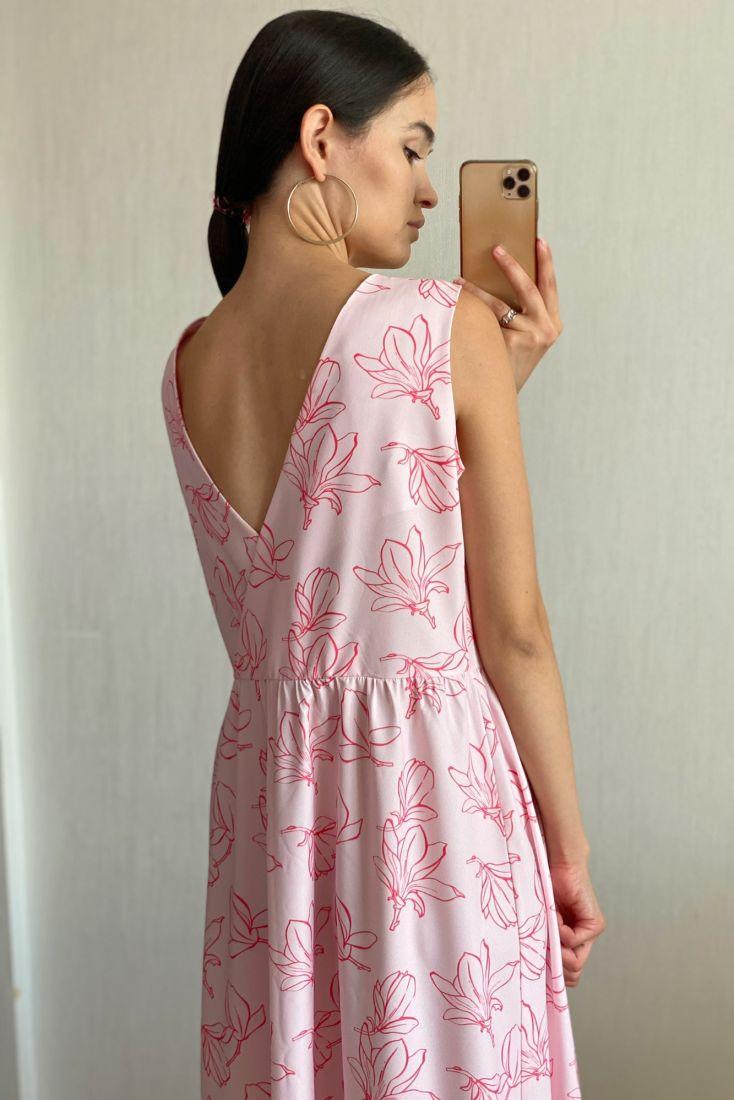s1816 Платье с вырезом розовое