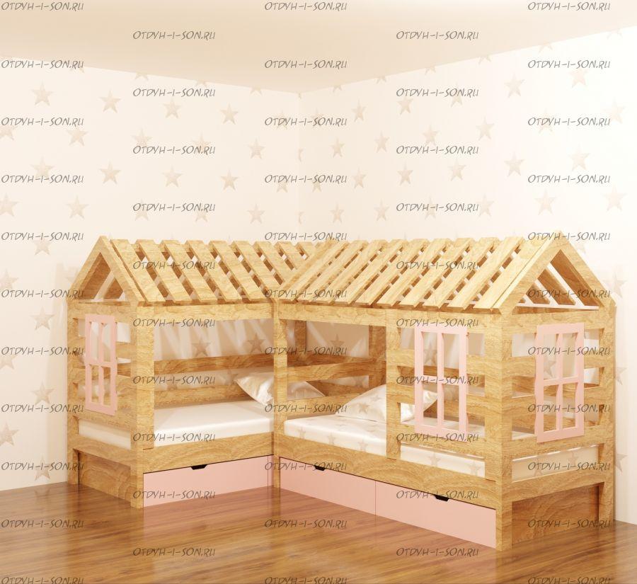 Кровать Домик угловой Simple Мансарда №3 (для двоих детей)