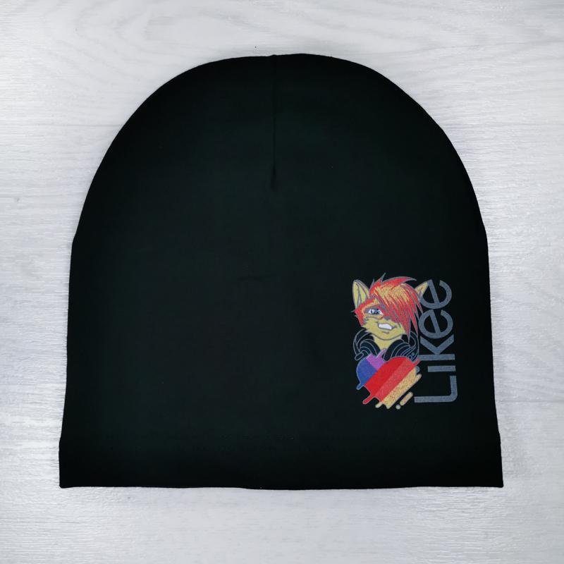 вм1395-65 Шапка трикотажная одинарная удлиненка Лайк черная
