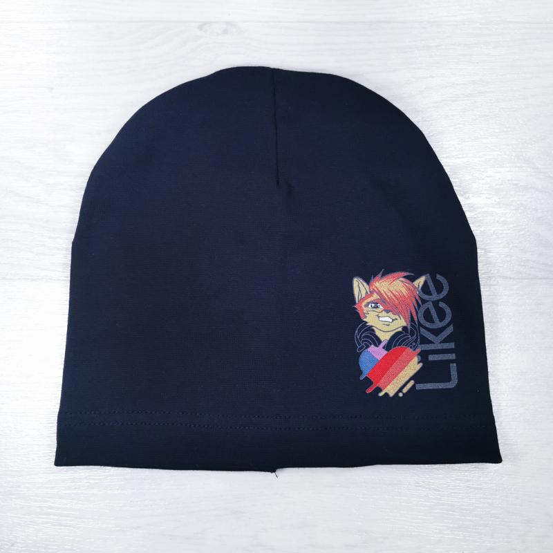 вм1395-74 Шапка трикотажная одинарная удлиненка Лайк сине-черная