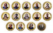Набор монет 13 штук, 10 РУБЛЕЙ - ИМПЕРАТОРЫ РОССИИ, цветная эмаль и гравировка