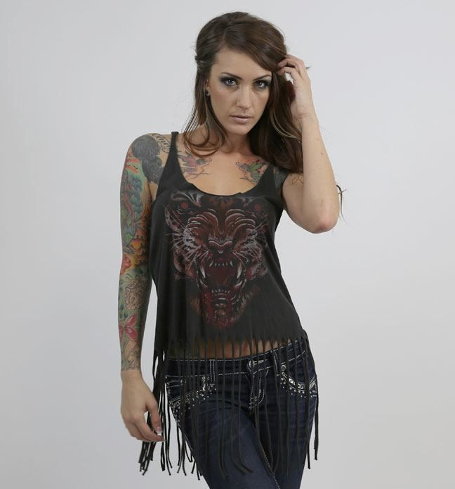 Sullen Angels SHREDDED Black Women's Tank