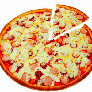 Пицца с сосисками и помидорами 27см