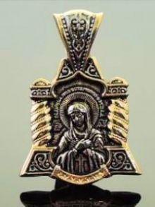 """Позолоченная подвеска """"Богородица"""" с чернением (арт. 250281)"""