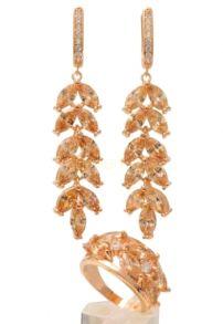 Комплект позолоченных украшений с медовыми цитринами (арт. 250290)