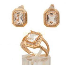 Комплект стильных позолоченных украшений - серьги и кольцо (арт. 250294)