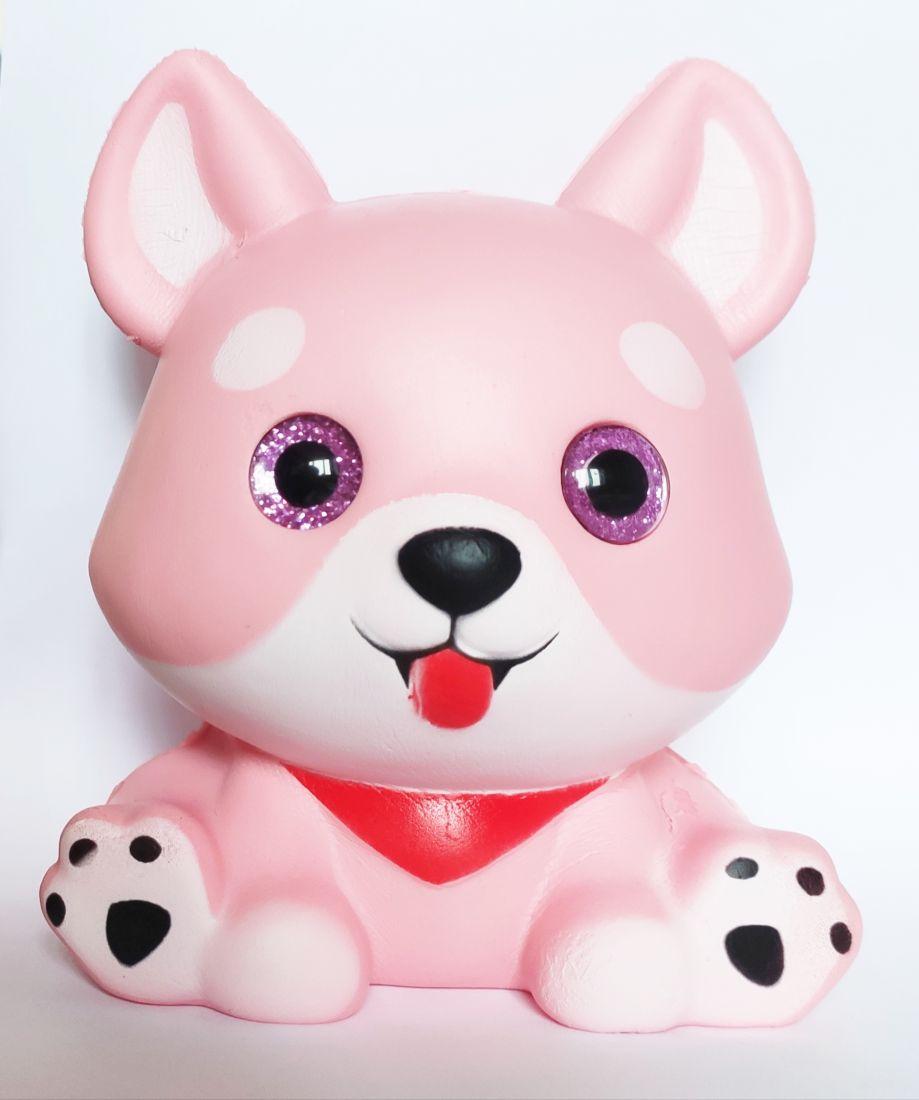 Сквиш с глазками Щенок розовый