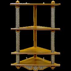 Угловая четырехъярусная полка для икон с басмой